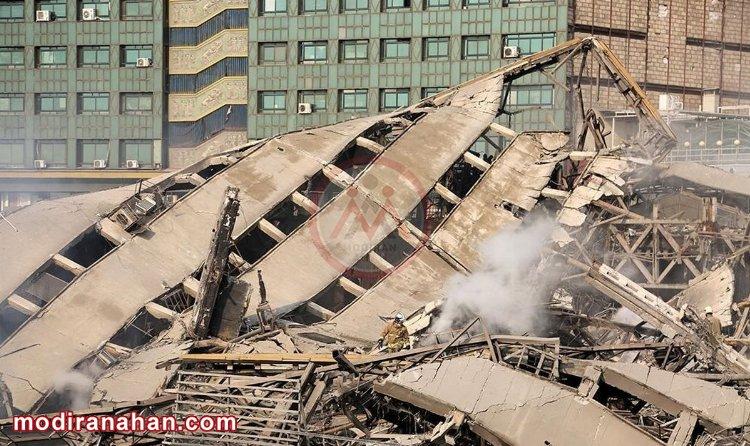 ریزش ساختمان با اسکلت فولادی بر اثر آتشسوزی