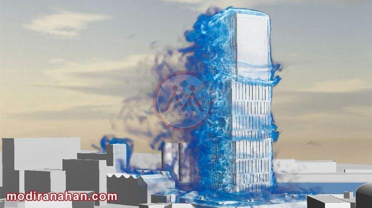 شبیه سازی اثر باد بر ساختمان