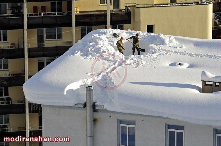 بار برف سنگین روی ساختمان