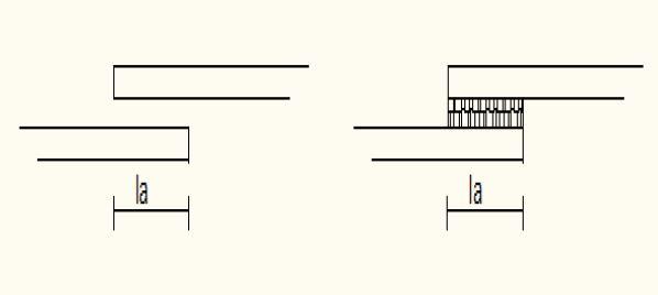 دو وجه میلگرد آجدار در حالت وصله جوش را نشان می دهد.
