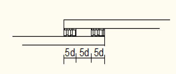 نشان می دهد جوشکاری یک طرف میلگرد آجدار در وصله جوشی برابر است با 15d